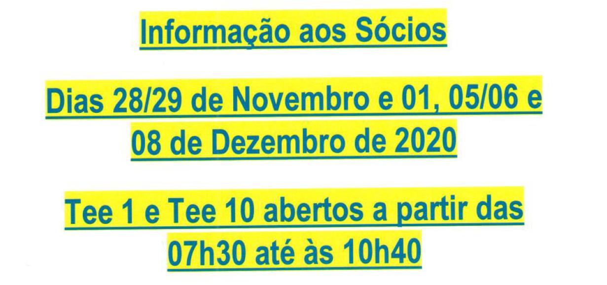 alt:[INFORMAÇÃO AOS SÓCIOS - FIM DE SEMANA DE 28-29 DE NOVEMBRO E 1, 5, 6 e 8 DE DEZEMBRO]